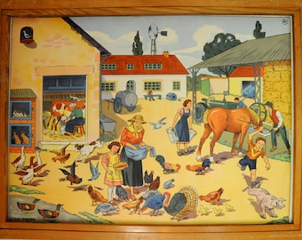 Rossignol Vintage French School double-sided poster The Farmyard and the Building site