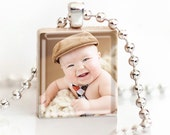 CUSTOM PHOTO Necklace - a jewelry pendant charm made from a Scrabble Game Tile with Ball Chain Necklace