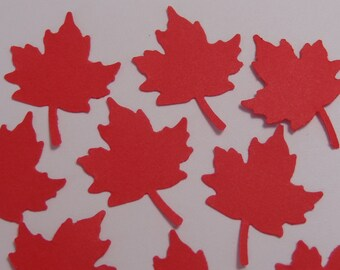 100 Red Maple Leaf Paper Punches Die Cuts Scrapbooking Embellishments Confetti