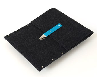 MacBook Pro 13 inch Sleeve Case Cover  Bag black felt blue leather strap handmade by SleeWay