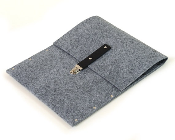 MacBook Pro 13 Sleeve Case Cover grey synthetic felt briefcase handmade by SleeWay