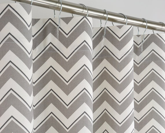 Gray And White Chevron Shower Curtain