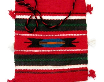 LINED MEXICAN MARKET Bag / Woven Cotton/Wool & Lined in Red (Ooak)  Upcycled from  woven market bag #001..