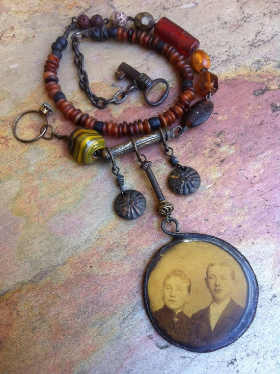 The Two. Rustic Victorian Tribal Assemblage Necklace