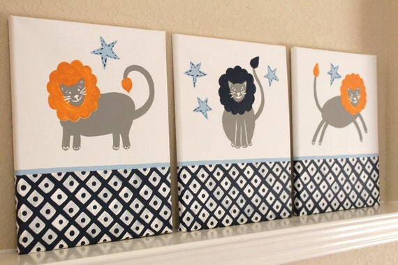 Little Lions, 11x14(set of 3), READY TO SHIP