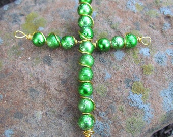 wire wrapped cross pendant
