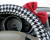 Steering Wheel Cover Bow, Black and White Houndstooth Steering Wheel Cover with Bright Red Bow, Black and White Wheel Cover with Bow BF11024