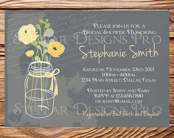 Chalkboard Mason Jars Bridal Shower Invitation,Gray, Pink, Purple, Yellow, Vintage Mason Jar Invitation,Mason Jar Wedding Shower, 5174