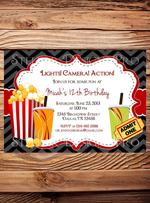 like this item - Movie Birthday Party Invitations
