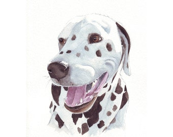 Dalmatian Painting - print of watercolor painting 5 by 7 print