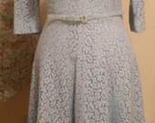 Baby Blue Cotton Lace Vintage 50's Dress XXL Plus Size VLV Easter