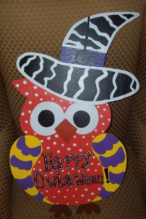 Decorating Ideas > Items Similar To Halloween Owl Door Hanger On Etsy ~ 102409_Halloween Owl Door Hanger