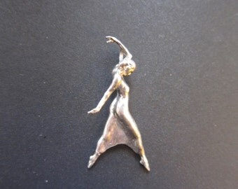 Clothed Woman Dancer Pendant in Sterling Silver
