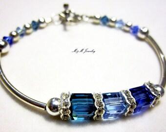Mother's Birthstone Bracelet Sterling SIlver Family Custom Grandmother Mom Bracelet Swarovski Crystal Grandmother Jewelry