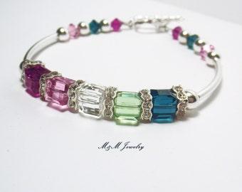 Personalized Mothers Birthstone Bracelet, Family Jewelry. Grandmother Bracelet, Swarovski Crystal and Sterling Silver