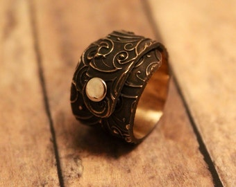 Bronze riveted wrap around ring