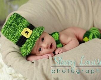 St. Patrick's Day Leprechaun Set- MADE to ORDER- Newborn to Toddler sizes- photo prop, costume