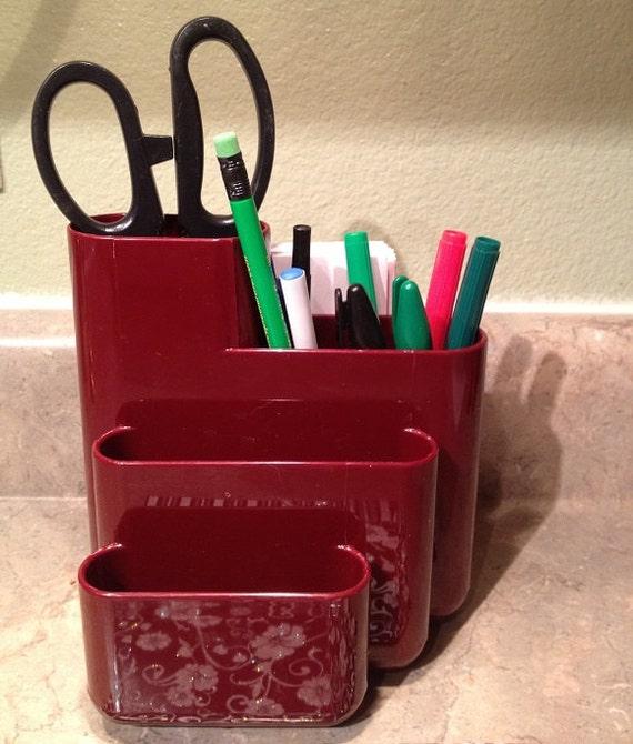 Mid Century Office Desk Maroon Organizer- Slots- Compartments- Pens- Pencils - 1970s Organizer- Craft Room