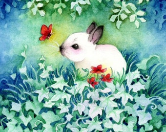 Wildlife Art Print, Baby Bunny with Red Butterfly