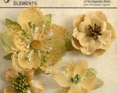 Yellow Amber  flowers - beautiful textured blossom with  embellished centers  (4pcs) - vintage rustic embellishment flowers - 1256-203