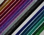 "Glitter Fold Over Elastic - Shiny FOE 5/8"" Headbands Hair Ties Satin Elastic - 10 yards - You Pick colors  Glitter Sparkle Elastic FOE Trim"