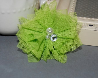 """4 pcs - Small Lime Green Tulle Mesh Fabric Flowers with Cluster Pearl Rhinestone center - Gracie - 2 1/4""""  Fabric flower - flat back"""