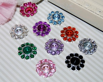 "crystal flower centers buttons flat back ( 22mm - 7/8"" size) - colored rhinestone embellishment accent metal  (10 pcs - 1 of each color)"