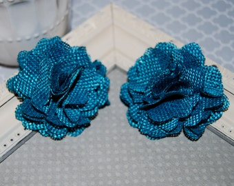 Flax Fabric Flowers - Teal linen Burlap fabric flowers (2 pcs) - use for headbands - hair hat shoe clips  rustic vintage decorations