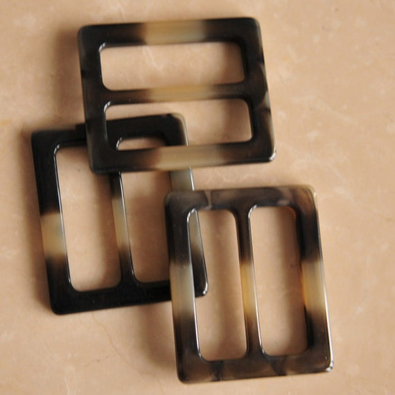 Large Rectangular Plastic Resin Buckle Flat Dark Charcoal (3 pieces)