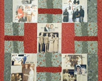 """Photo Quilt with People & Places Labeled. 5 Fabric Photo Collages. 36""""x36""""  Perfect Lap and Display Size to View All Photos. Washable"""