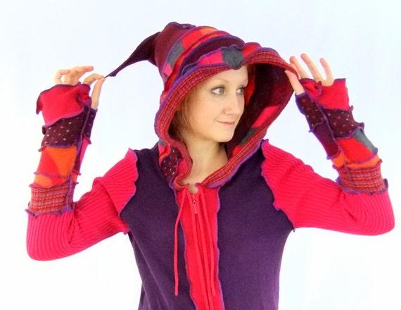 Pink Stripey Pixie zipper hoodie - Medium Large - Ready to Ship