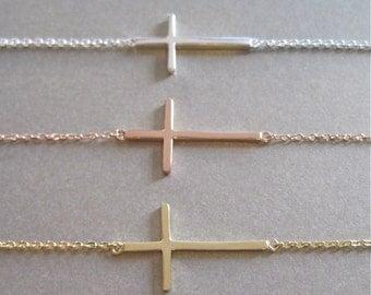 Side Way Cross Bracelet - Cross Bracelet