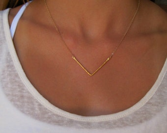 Gold Hammered Chevron Necklace - Chevron Necklace -  Gold Necklace
