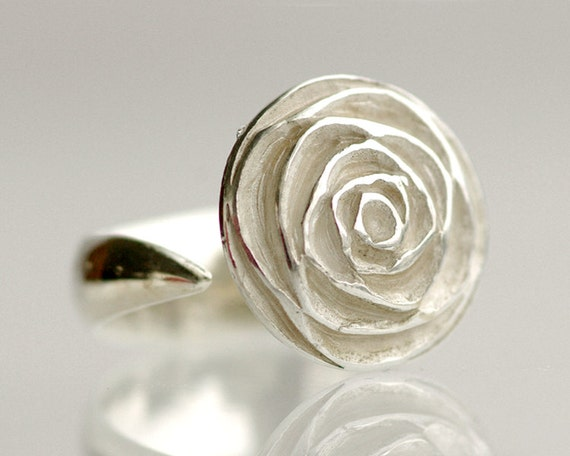 Sterling Silver Rose Ring - simple, organic, hand carved, adjustable