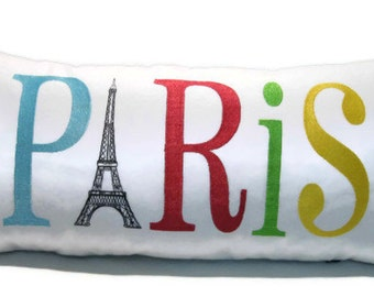 """Custom Designed Big Bold Paris Pillow Cover with Invisible Zipper - 12"""" x 24"""" embroidered pillow cover on white cotton"""