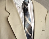 Retro Men's Tie Blues and Browns Striped Vintage Necktie