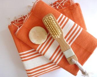 Turkish Towel and Head Towel Set, Natural Peshtemal and Peshkir, bath, Hammam, for her, , spa, yoga, bathroom, beach, orange, christmas