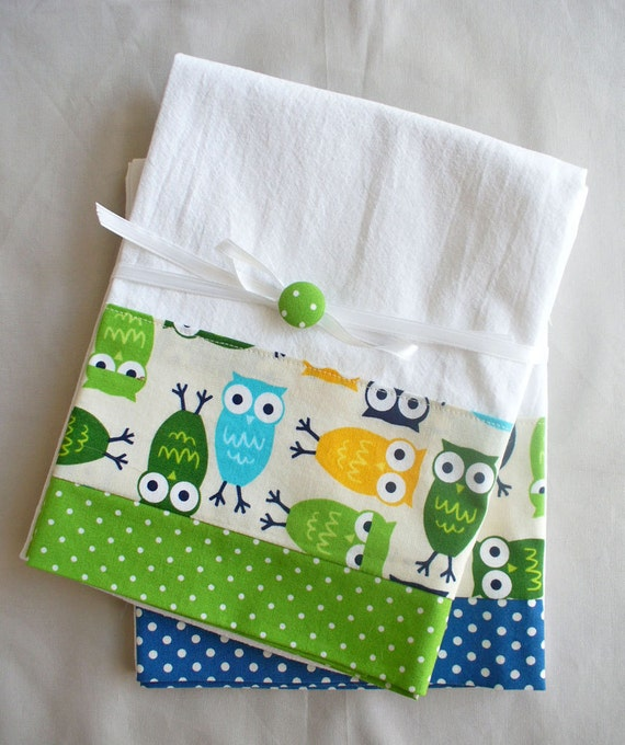 Kitchen Towels Owls Green And Blue Cotton Fabric Accent Set