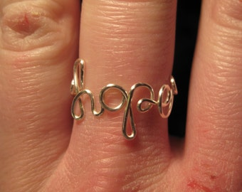 Wire Wrapped Adjustable HOPE Ring MADE to ORDER