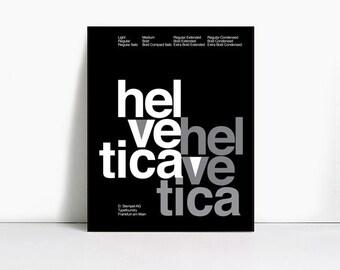 11x14 Inch Suisse Swiss Helvetica Type Specimen Poster, Color: Black.