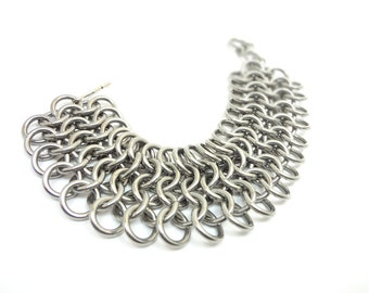 Chunky Metal Cuff Bracelet - European Chainmaille - Wide