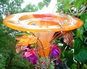 YELLOW ORANGE, Outdoor, HUMMINGBIRD, Bird Feeder, Garden Decor, stained glass, copper