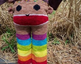 Rainbow Sock Monkey Longies Pants Wool Hand Knit  Custom