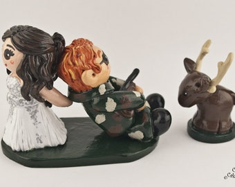 Hunting Bride and Groom Wedding Cake Topper