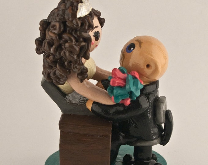 Online Dating Bride and Groom Wedding Cake Topper
