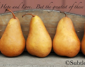 Hope, Faith and Love 10x5 Plaque - Inspirational, Pears, Photography, Mother's Day