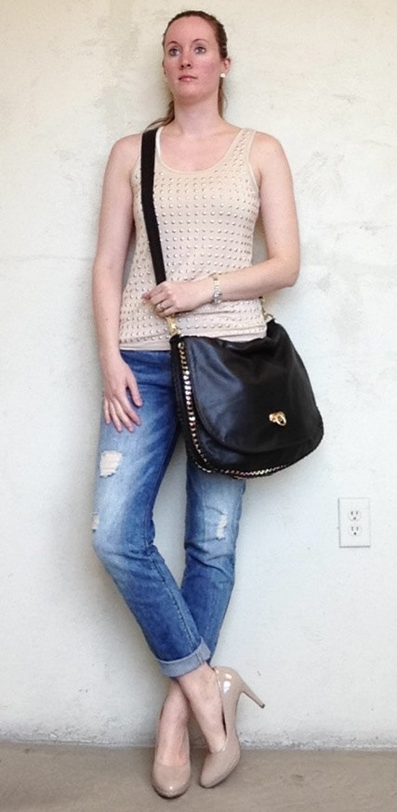 SALE - Black Leather Messenger Purse with Gold Chain Detail