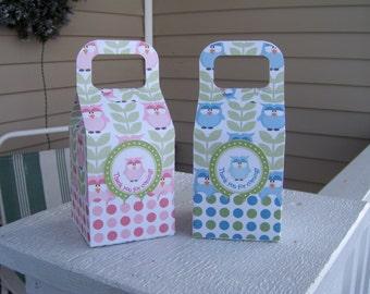 Pink or Blue Owl Favor Boxes Set of 12
