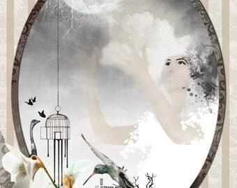 8X10 Paper print, Yellow and gray, Moon art, Drawing girl, Humming bird