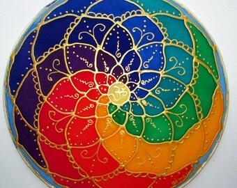 rainbow mandala art spiritual gift,gifts under 40 sacred geometry spiritual art chakra Mandala chakra art spiritual mandala reiki meditation
